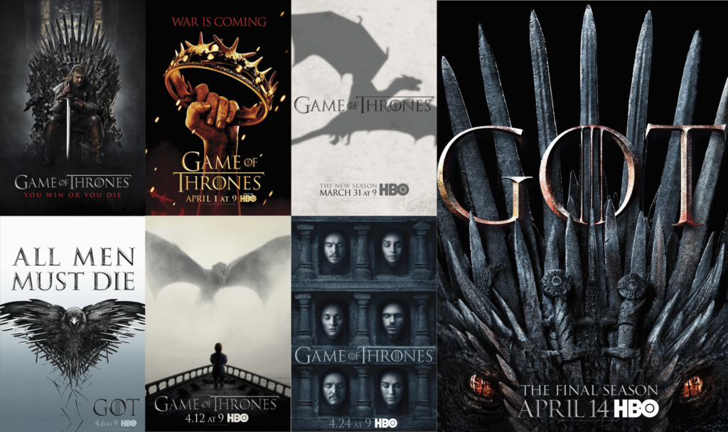 All Game of Thrones season posters