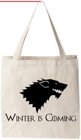 Winter Is Coming Direwolf Tote Bag