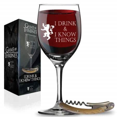 I Drink and I Know Things Wine Glass