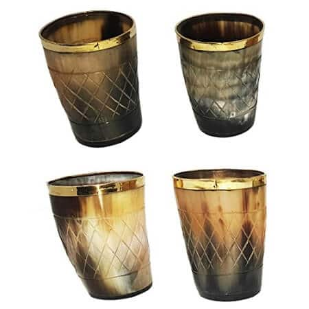 Set of 4 Natural Horn Glass Brass Trim
